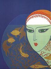 "CLASSIC ERTE ART DECO BOOK PRINT ""FISH BOWL"" 1920'S LADY VIEWS BOWL OF GOLDFISH"