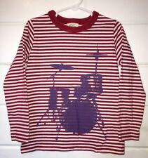 Boy MINI BODEN Sz 4 5 4t 5t DRUMS Long Sleeve Red Stripe Tee Top Music VGUC