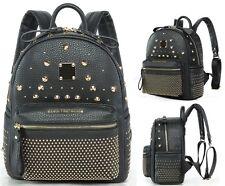 Damen Bagpack Backpack Damentasche Rucksack Lederrucksack Nieten Tasche Schwarz
