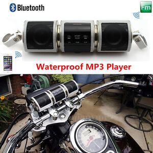 Waterproof Motorcycle Audio System Bluetooth MP3 Player FM Radio Speaker USB/Aux