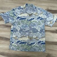 Tommy Bahama Men's Silk Short Sleeve Hawaiian Button Front Shirt Size Medium