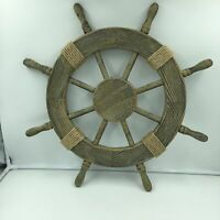 "Nautical 24"" Steering Wheel Rustic Rope Accent Distressed Beige Wood Wall Decor"