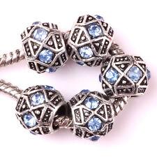 Fashion 5pcs Silver Czech big hole Beads Fit European Charm Bracelet DIY #A121
