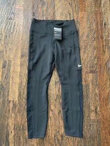 Nike Dry Womens Leggings Athletic Pockets Mesh  CJ1816-010 Small