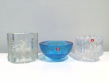 IIttala Glass Finland Trio of Votive Candle Holders w Original Stickers