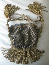 Antique Victorian French Gold Metallic Bullion Fringe 4 Tassel Purse Textile WOW