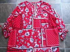 BNWNT Women's Autograph Red, black & White Polyester Top/Blouse Size 18