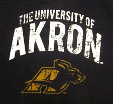 UNIVERSITY AKRON Zips lrg kangaroo T shirt OHIO distressed tee V-neck Roo neck