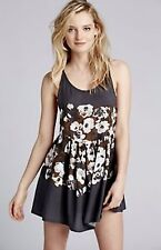 NEW Free People IFP gray brown Sheer Floral Strappy Back Swingy Slip Dress S