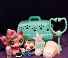 Littlest Pet Shop Pink WOLF CAT #2664 Baby Kitten #2665 brown swirls persian fox