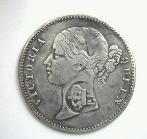 MOZAMBIQUE ND(1840) SILVER RUPEE VERY FINE COUNTERMARK ON INDIA 1840 RUPEE *