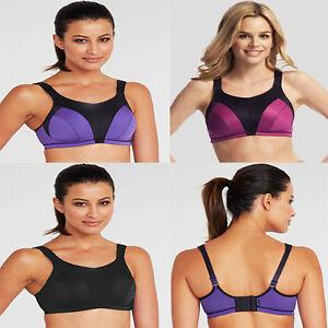 LADIES HIGH IMPACT Sports Bra Top Wire Free Active Pink Purple Black NEW