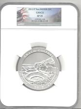 2012- p 5 Oz Silver America Beautiful ATB NQ1 Chaco Park 25c NGC SP70 flag label