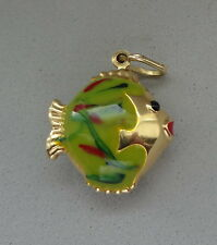 ITALY 14K YELLOW GOLD PUFFY POLISHED GREEN ENAMEL TROPICAL FISH PENDANT CHARM
