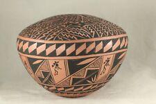"Acoma Pueblo New Mexico 6¼"" Terra Cotta Seed Pot w Lizard & Kokopelli Signed K S"