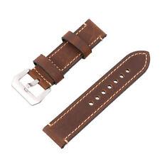 24mm Width Luxury Retro Genuine Leather Wristwatch Bands Brown Men's Watch Strap