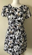 Oasis Floral Butterfly Skater Dress Size 10 Open Back Short Sleeves Cute Mini