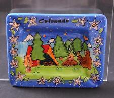 "Vintage Ceramic Colorado Ashtray Camping Bears Tree Tent Flowers 6 3/8"" R15"
