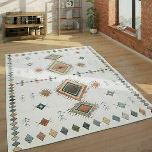 Traditional Ethnic Indian Print Rugs Living Room Hallway Mats Cream Multicolour