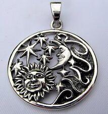 Plata Esterlina (925) el sol, la Luna y Estrellas Colgante!!!!!! nuevo!!!!!!