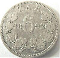 1892 ZAR SOUTH AFRICA, 6 Pence grading Good FINE.