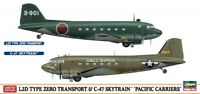 """Hasegawa 1:200 L2D Type Zero & C-47 """"Pacific Carriers"""" Two Aircraft Model Kit"""