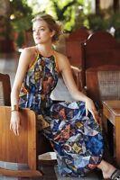 Anthropologie Ranna Gill Condesa Maxi Dress Colorful Orange Studded Print SZ M