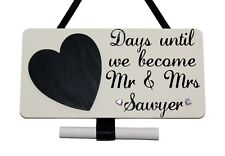 Personalised Wedding Countdown - with blackboard Heart - Handmade Wooden Plaque