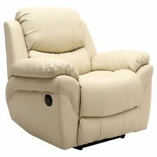 Electric Cream Leather Recliner Armchair Lounge Chair