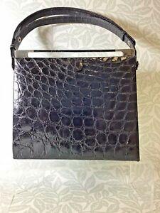 KAIYO Vintage Crocodile Skin Framed Bag Black With Silver Hard wear