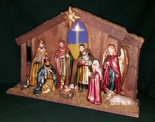 Nativity Set Scene with 9 Ceramic Figures Large Wood Lighted Stable Creche - EUC