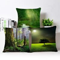Forest landscape Cotton Linen Throw Pillow Case Cushion Cover Home Sofa Decor