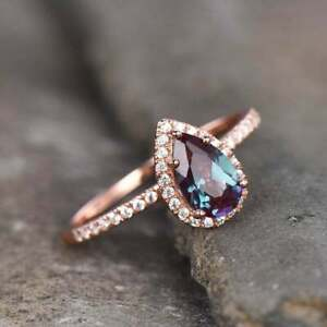 2Ct Pear Cut Alexandrite Diamond Halo Engagement Ring 14K Rose Gold Finish