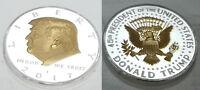 Donald Trump Silver & Gold Coin US President MAGA White House Americana Medal UK