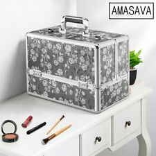 Extra Large Vanity Case Beauty Box Make up Cosmetic Nail Storage Lockable Travel