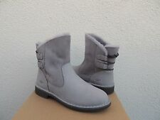 UGG NAIYAH PENCIL LEAD GREY LEATHER/ TWINFACE ANKLE BOOTS, US 5/ EUR 36 ~NIB