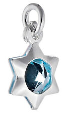 5 STERLING SILVER STAR CHARMS WITH SKY BLUE CRYSTAL & OPEN JUMP RING, 9 MM
