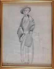Edouard LEVERD,Paris 1881-1953.Femme au chapeau.Esquisse au crayon.SBG.33x24.
