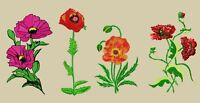 MACHINE EMBROIDERY DESIGNS - POPPIES EMBROIDERY - DRESS, HANDBAG Embroidery