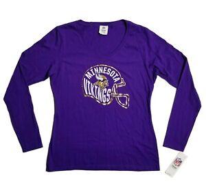 NFL Womens Minnesota Vikings Turn It Loose Long Sleeve V-Neck Tshirt Medium