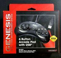 Sega Genesis 6 Button Arcade Pad With USB Wired Retro Bit Black
