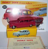 DINKY TOYS ATLAS PEUGEOT 403 FAMILIALE ROUGE 1/43 REF 24F IN BOX