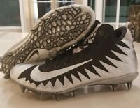 Nike Alpha Menace Pro Mid Football Cleats Black Silver Raiders SZ (871451-001)