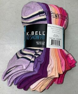 SALE! K. Bell Ladies' No Show Fit Socks 10-pair   Extended Sizes   C42