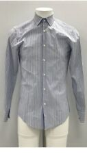 HUGO BOSS Men's Blue Striped Slim Fit Smart Long Sleeve Shirt Size 14.5""