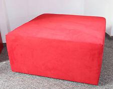 HOCKER rot 80 x 80 x 40 Alcantara Wildleder Fusshocker Couchhocker red