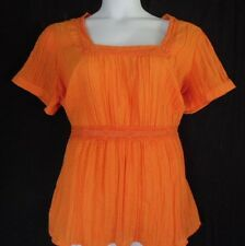 CAto Orange Crinkled Poly Cotton Boho Tunic Women's Top 18 20 .. Bust 52""