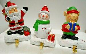 Ceramic Christmas Socking Hangers  SANTA--SNOWMAN--ELF  Set of 3