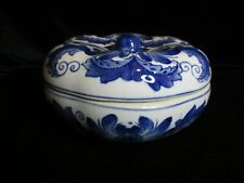 CHINESE DECHANGE TACCI COBALT BLUE COVERED DISH POTTERY CERAMICS MARKED 6 3/4