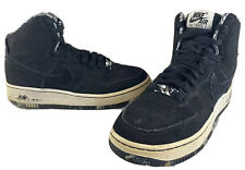 Nike Air Force 1 High Black White Suede Basketball Shoes 631784-111 Size 5Y